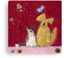 Big yellow dog and little white cat. Canvas Print