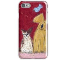 Big yellow dog and little white cat. iPhone Case/Skin