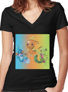 Mudkip, Torchic and Treecko Women's Fitted V-Neck T-Shirt
