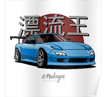Drifting King RX7 (blue) Poster