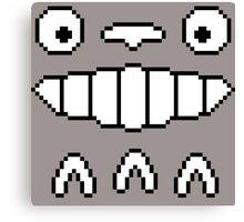 Totoro's Smiling Face 8-Bit Canvas Print