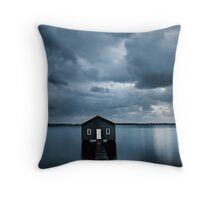 A Little Blue Boatshed Throw Pillow