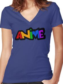 Colorful Anime Text Logo Women's Fitted V-Neck T-Shirt
