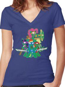 Teenage Mutant Ninja Ponies Women's Fitted V-Neck T-Shirt