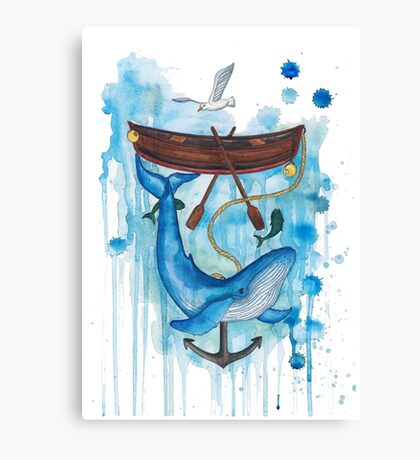 whale under boat Canvas Print