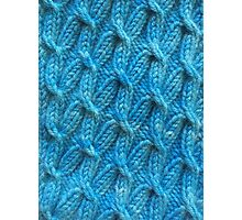 Hand dyed knitted cables blue Photographic Print