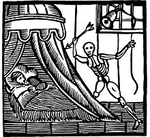 Antique Woodcut Death and Sleep Photographic Print