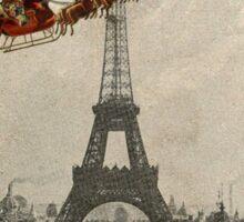 Santa Over Paris Red Frame Sticker