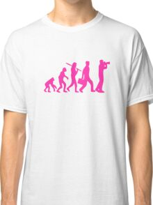 Hot Pink Evolution of Photography Graphic Classic T-Shirt