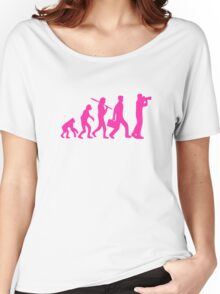 Hot Pink Evolution of Photography Graphic Women's Relaxed Fit T-Shirt