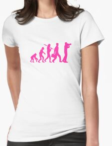 Hot Pink Evolution of Photography Graphic Womens Fitted T-Shirt