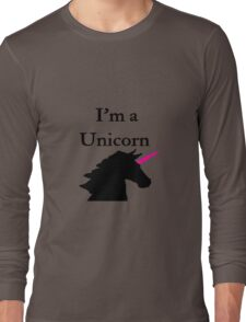 I'm a Unicorn Photo 2 Black Pink Horn Long Sleeve T-Shirt
