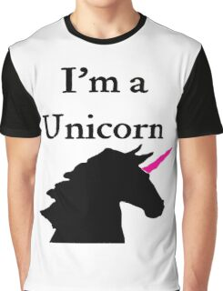 I'm a Unicorn Photo 2 Black Pink Horn Graphic T-Shirt