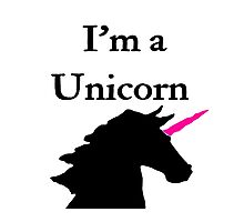 I'm a Unicorn Photo 2 Black Pink Horn Photographic Print