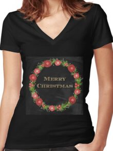 Merry christmas.typography,cool text,gold,vintage,christmas wreath,floral,black board,modern,trendy,country chic Women's Fitted V-Neck T-Shirt