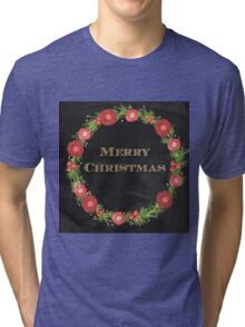 Merry christmas.typography,cool text,gold,vintage,christmas wreath,floral,black board,modern,trendy,country chic Tri-blend T-Shirt