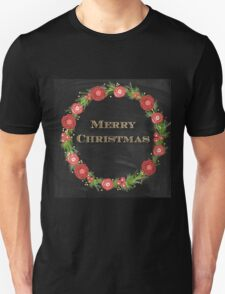 Merry christmas.typography,cool text,gold,vintage,christmas wreath,floral,black board,modern,trendy,country chic Unisex T-Shirt