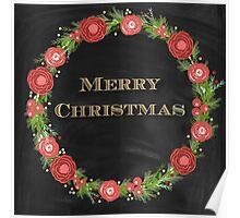 Merry christmas.typography,cool text,gold,vintage,christmas wreath,floral,black board,modern,trendy,country chic Poster