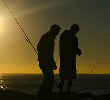 Fishermen at dawn. Currumbin Alley, Gold Coast. by Ann Pinnock