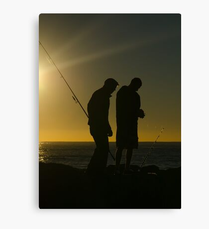Fishermen at dawn. Currumbin Alley, Gold Coast. Canvas Print