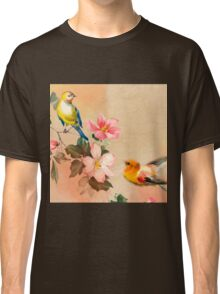 Shabby chic,vintage,pattern,flowers,birds,hand painted,country chic, Classic T-Shirt