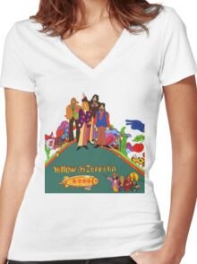 Yellow Zeppelin Submarine T-Shirt Women's Fitted V-Neck T-Shirt