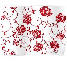 retro  flower rose Poster