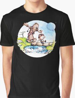 Calvin & Hobbes / Chewbacca & Han Solo Graphic T-Shirt