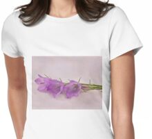 Three Wild Campanella Blossoms - Macro Womens Fitted T-Shirt