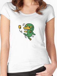 KakaoTalk Friends Green Monster Tube (Kicking Shoes)  Women's Fitted Scoop T-Shirt