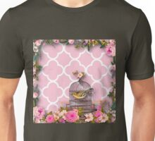 Shabby chic,pink,white,moroccan,quatrefoil,pattern,bird,cage,flowers,floral,vintage Unisex T-Shirt