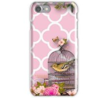 Shabby chic,pink,white,moroccan,quatrefoil,pattern,bird,cage,flowers,floral,vintage iPhone Case/Skin