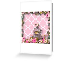 Shabby chic,pink,white,moroccan,quatrefoil,pattern,bird,cage,flowers,floral,vintage Greeting Card