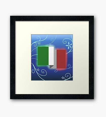 Italian Flag 2D Design Framed Print