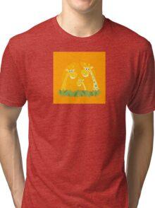 Cute giraffe family portrait. Vector Illustration of giraffe family. Funny animal characters in retro style. Tri-blend T-Shirt