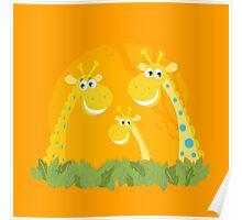 Cute giraffe family portrait. Vector Illustration of giraffe family. Funny animal characters in retro style. Poster