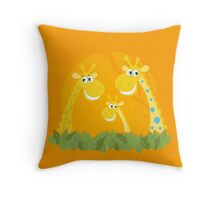 Cute giraffe family portrait. Vector Illustration of giraffe family. Funny animal characters in retro style. Throw Pillow
