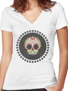 Mexican Skull Women's Fitted V-Neck T-Shirt