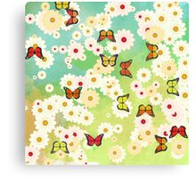 Daisies and butterflies Canvas Print