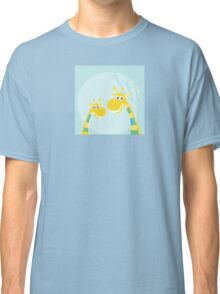 Funny jungle yellow giraffes. Vector illustraton of happy giraffes in the jungle Classic T-Shirt