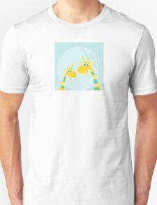 Funny jungle yellow giraffes. Vector illustraton of happy giraffes in the jungle Unisex T-Shirt