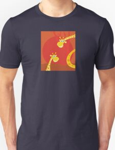 Safari animals - Big and small giraffe. Cute giraffe family with sun behind Unisex T-Shirt