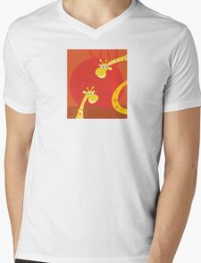 Safari animals - Big and small giraffe. Cute giraffe family with sun behind Mens V-Neck T-Shirt