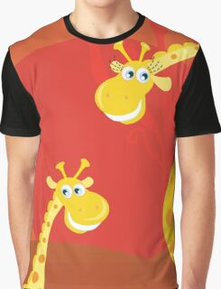 Safari animals - Big and small giraffe. Cute giraffe family with sun behind Graphic T-Shirt