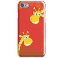 Safari animals - Big and small giraffe. Cute giraffe family with sun behind iPhone Case/Skin