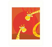 Safari animals - Big and small giraffe. Cute giraffe family with sun behind Art Print