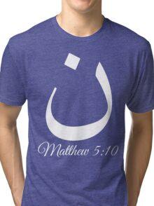 Arabic Letter N Matthew 5:10 Christian Tri-blend T-Shirt