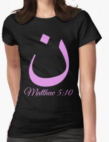 Arabic Letter N Matthew 5:10 Christian Womens Fitted T-Shirt