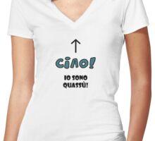 Ciao! Io sono quassù! Women's Fitted V-Neck T-Shirt
