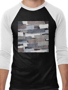Textured Gray Layers Men's Baseball ¾ T-Shirt